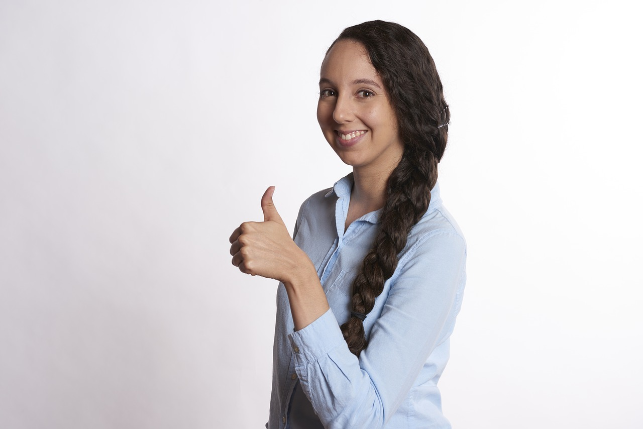 woman, thumbs up, smiling